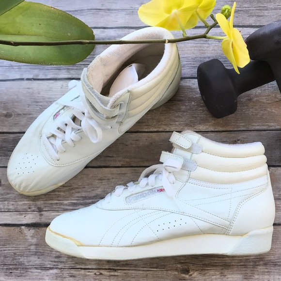 Reebok Shoes - Reebok White Classic High Top Leather Sneakers NEW a0a4a2d02